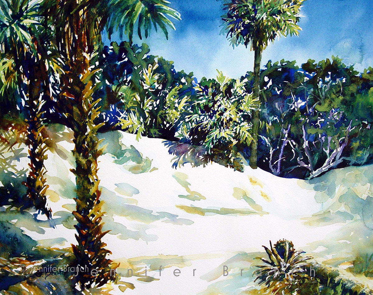 Beach Dunes watercolor painting