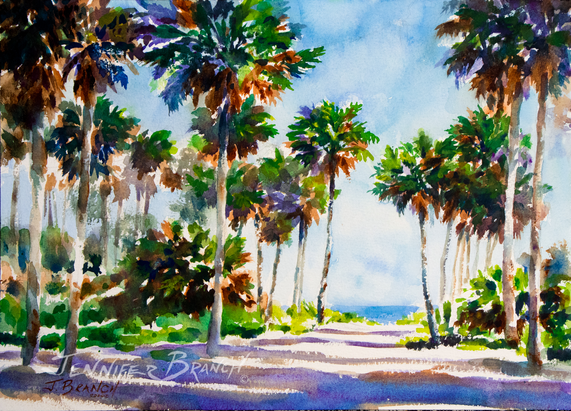 Path to the Beach watercolor painting