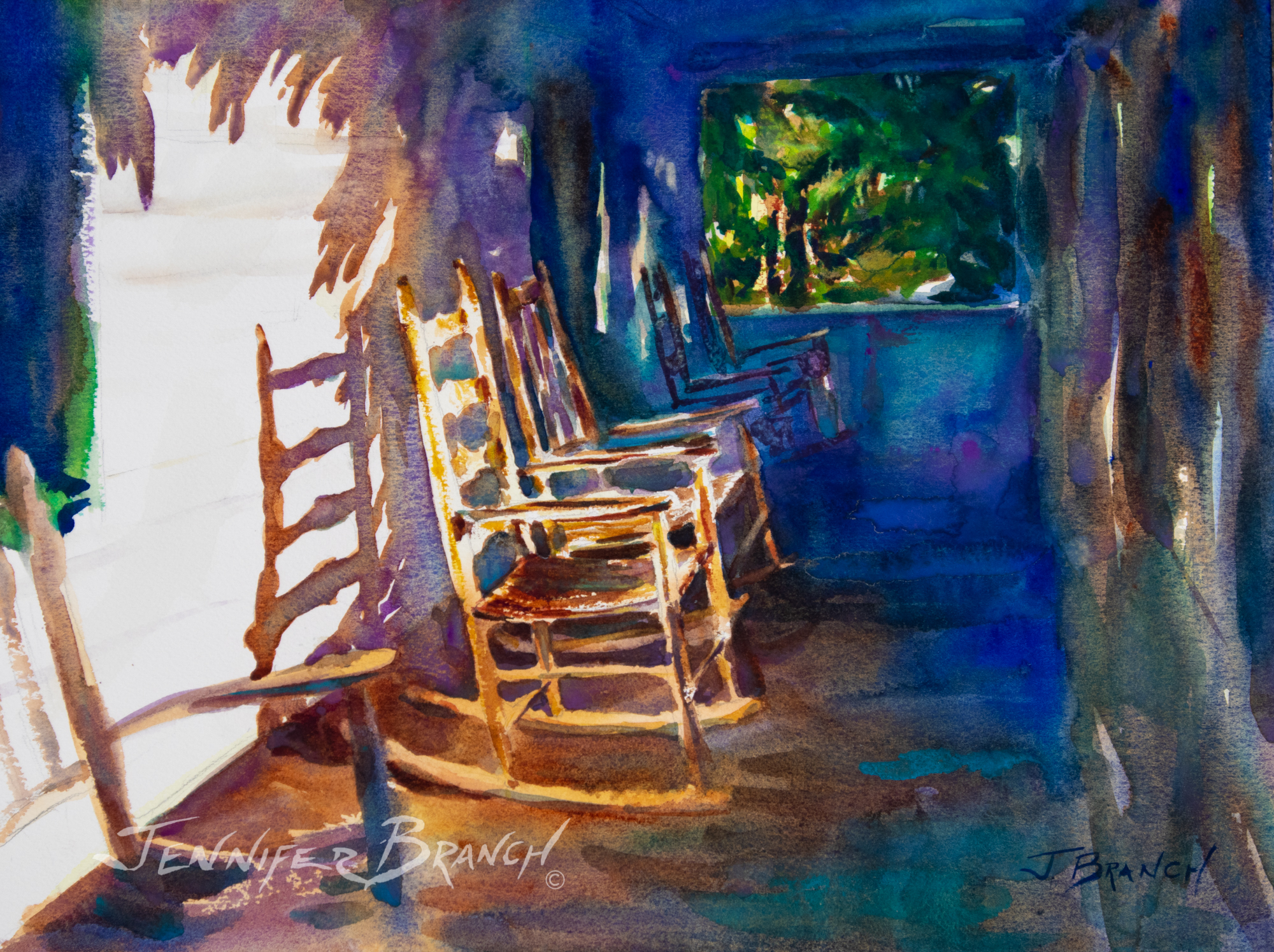 Beach Porch watercolor painting