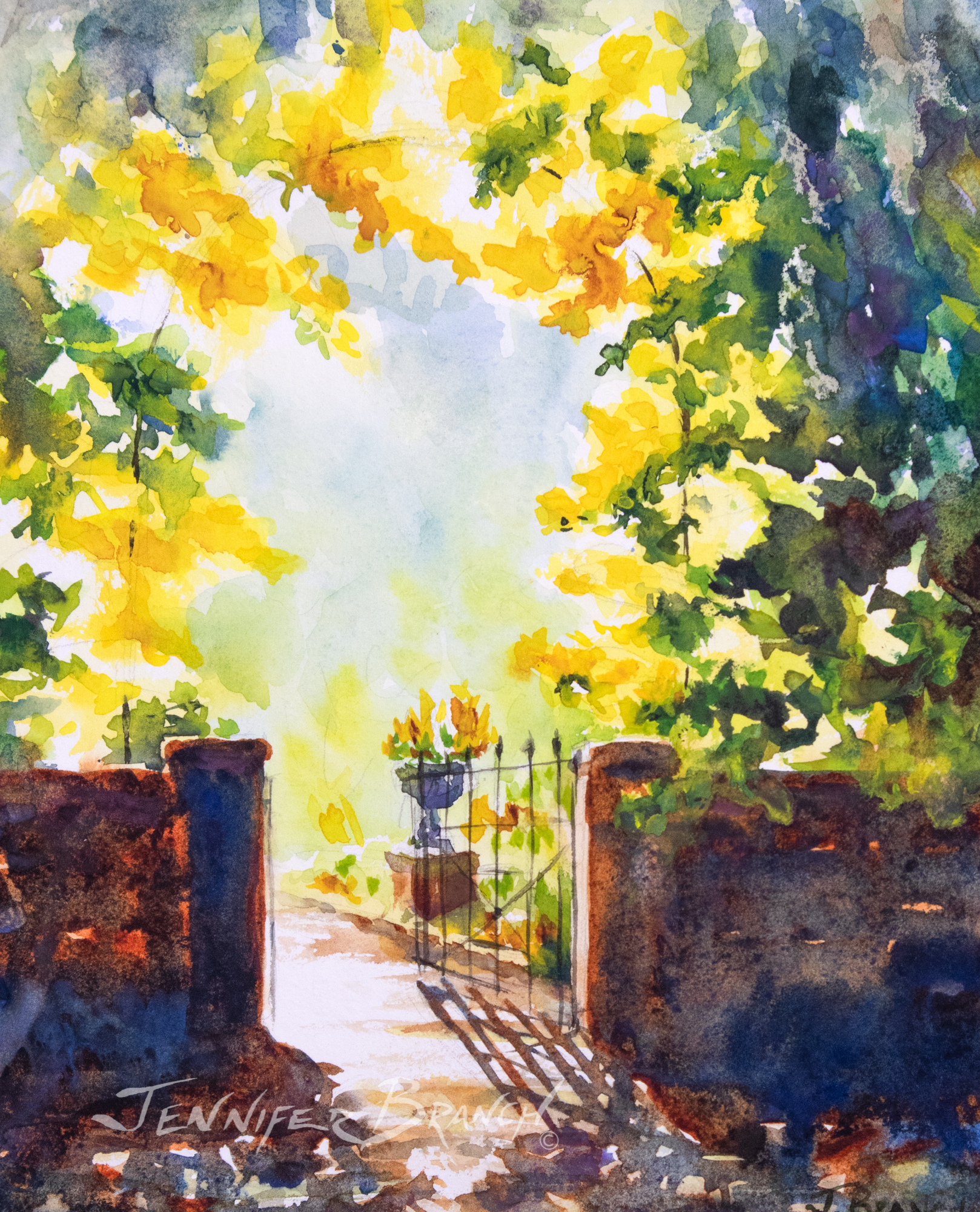 Painting of a garden gate in Beaufort, South Carolina. by Jennifer Branch.