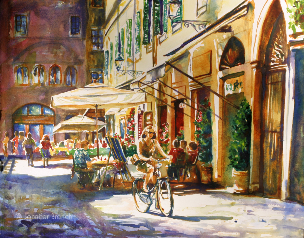 Biking Lucca watercolor painting