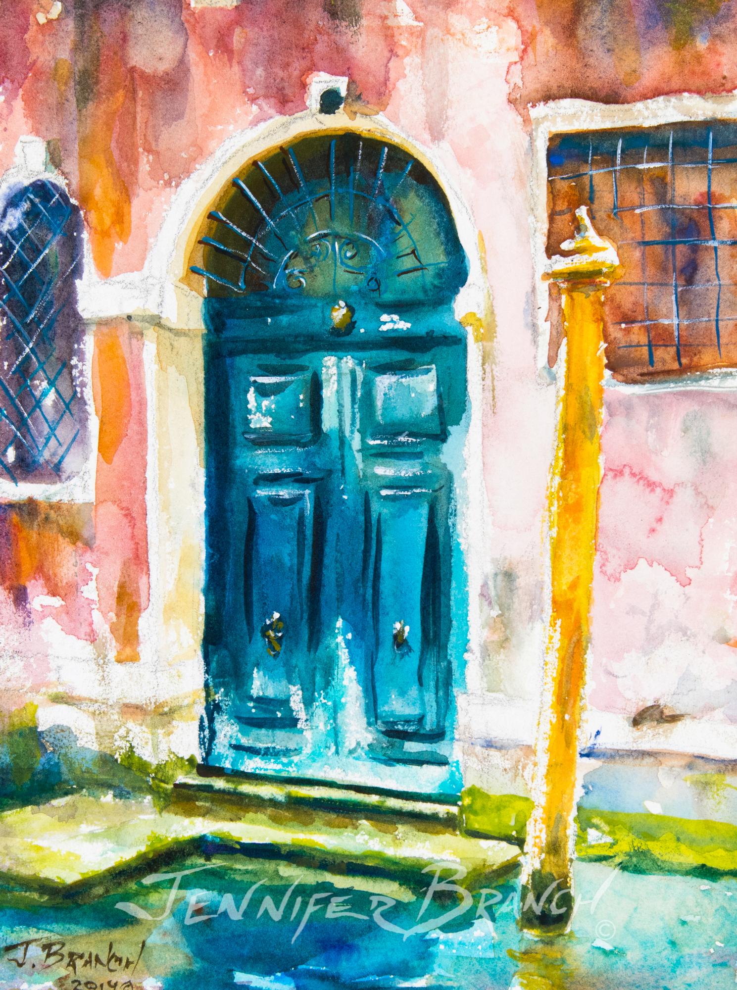 Venice Door watercolor painting