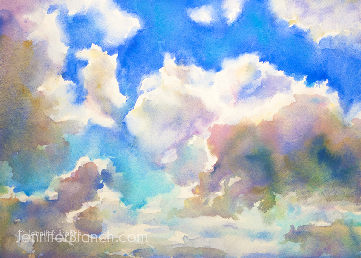 Blue Sky Sketching Watercolor Sketch by Jennifer Branch