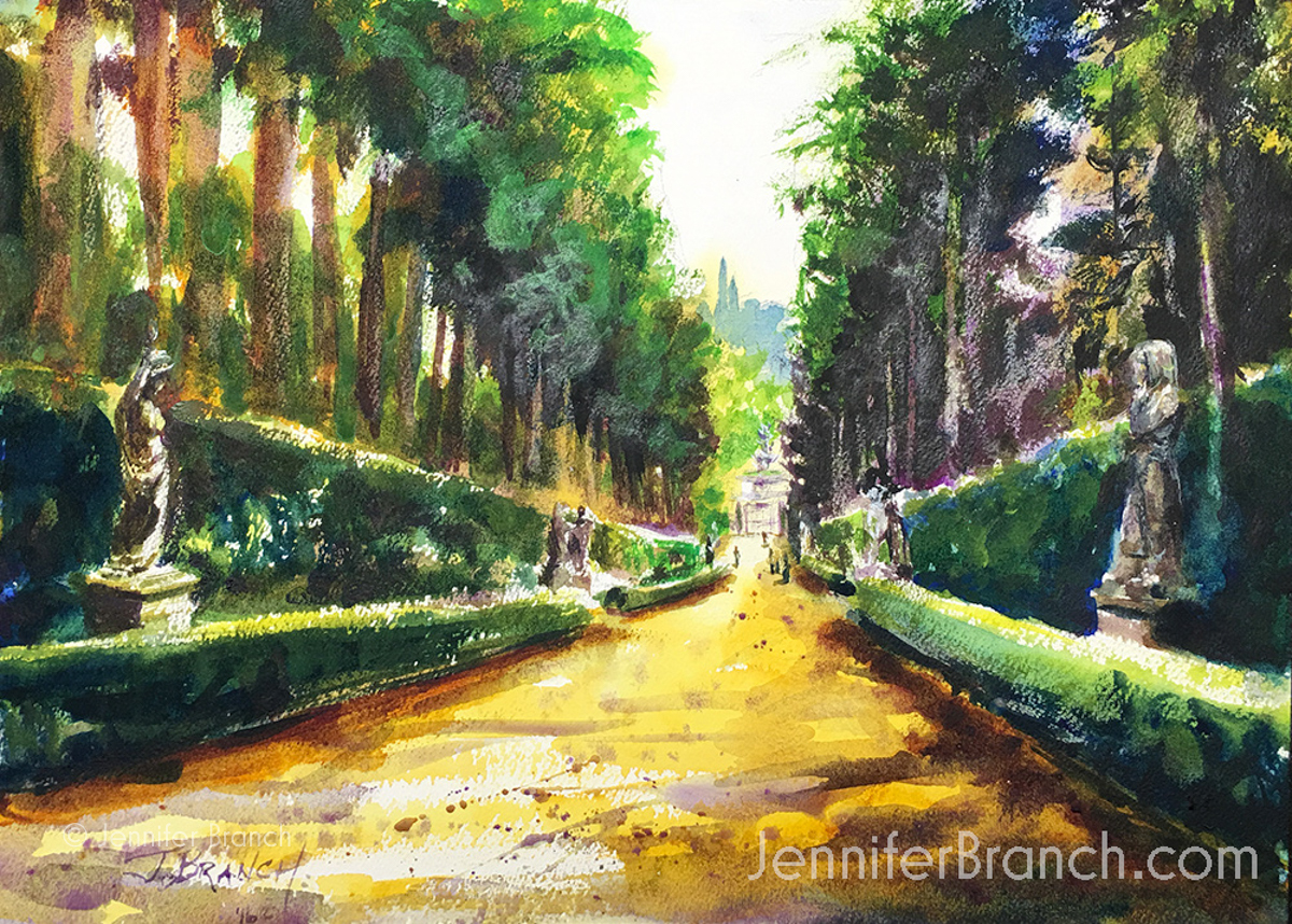 Boboli Gardens watercolor painting by Jennifer Branch.