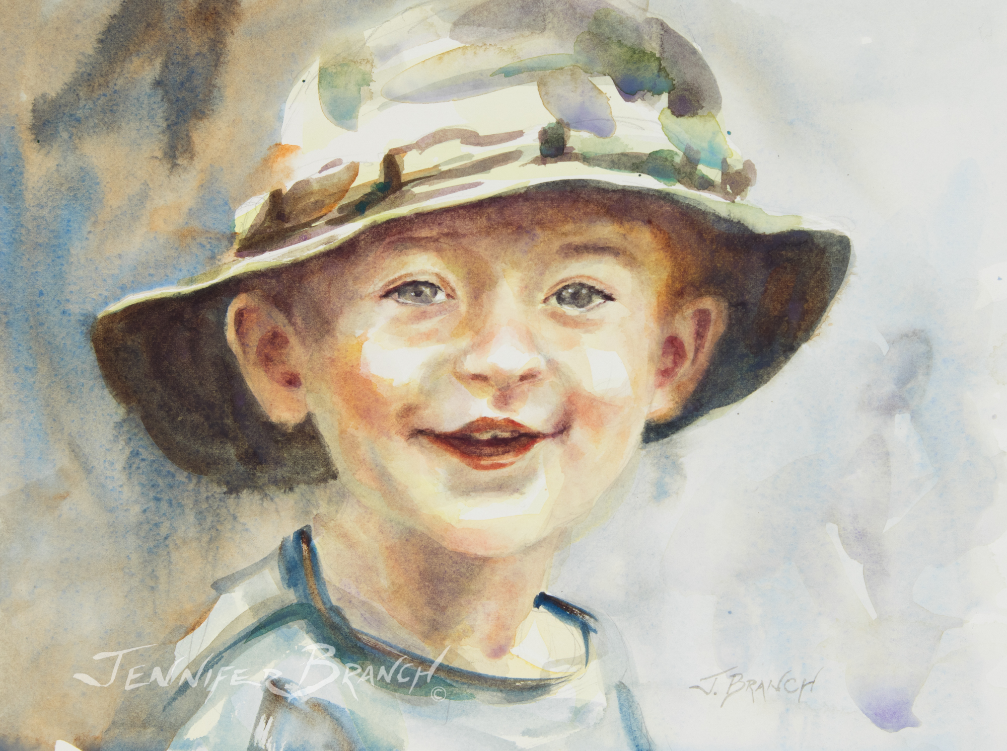 Boy in Hat Portrait watercolor painting tutorial