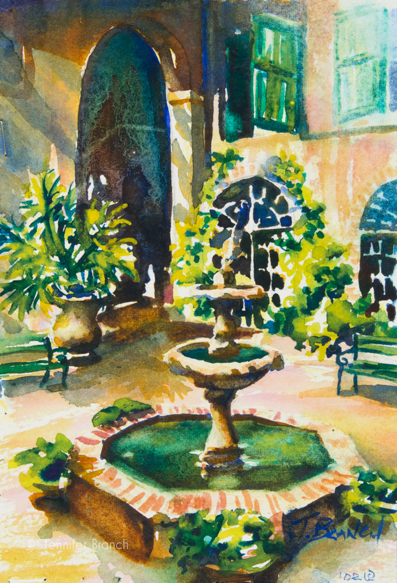 Brulatour courtyard watercolor painting by Jennifer Branch.