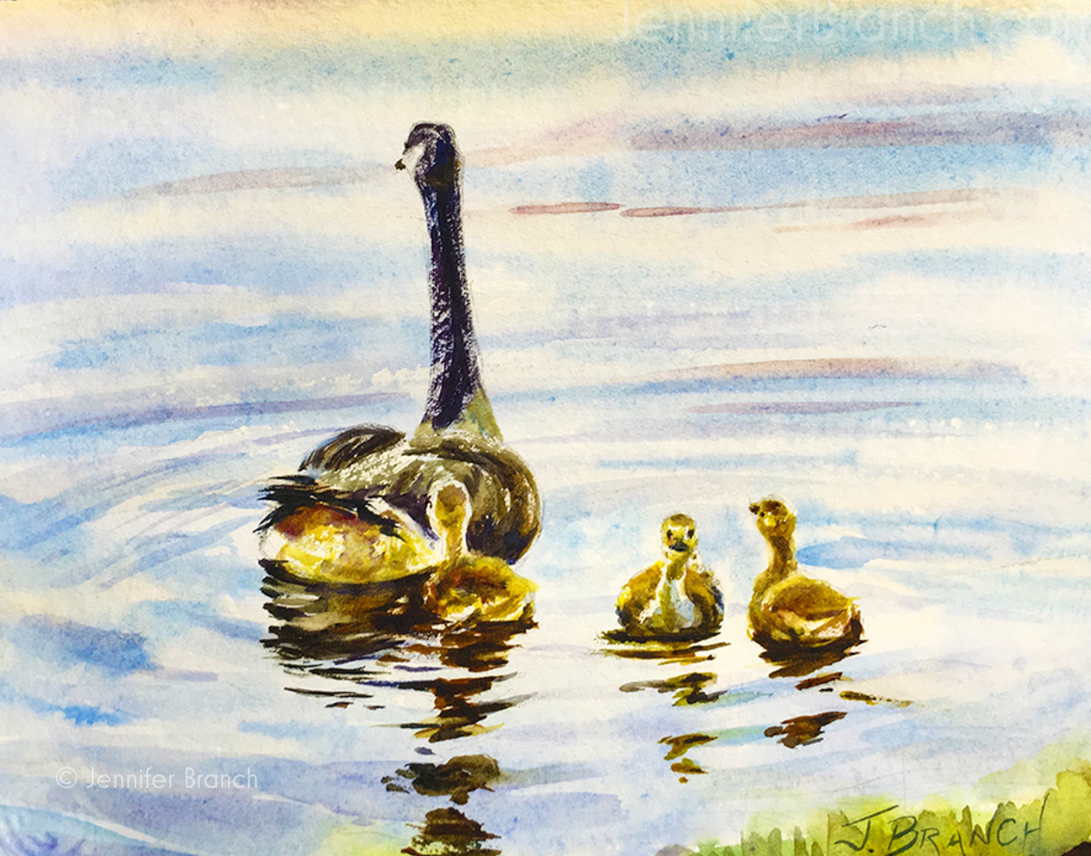 Watercolor reflections painting tutorial goslings