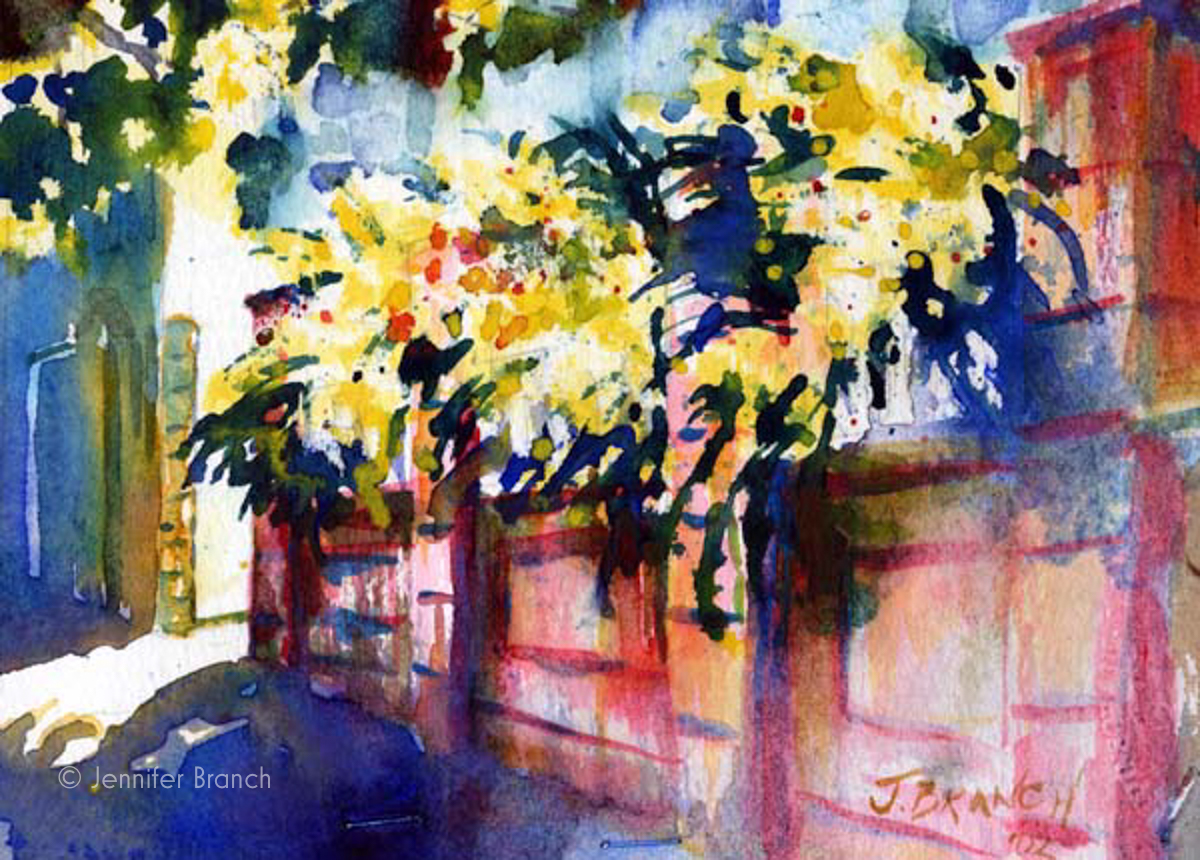 Charleston wall roses watercolor painting by Jennifer Branch