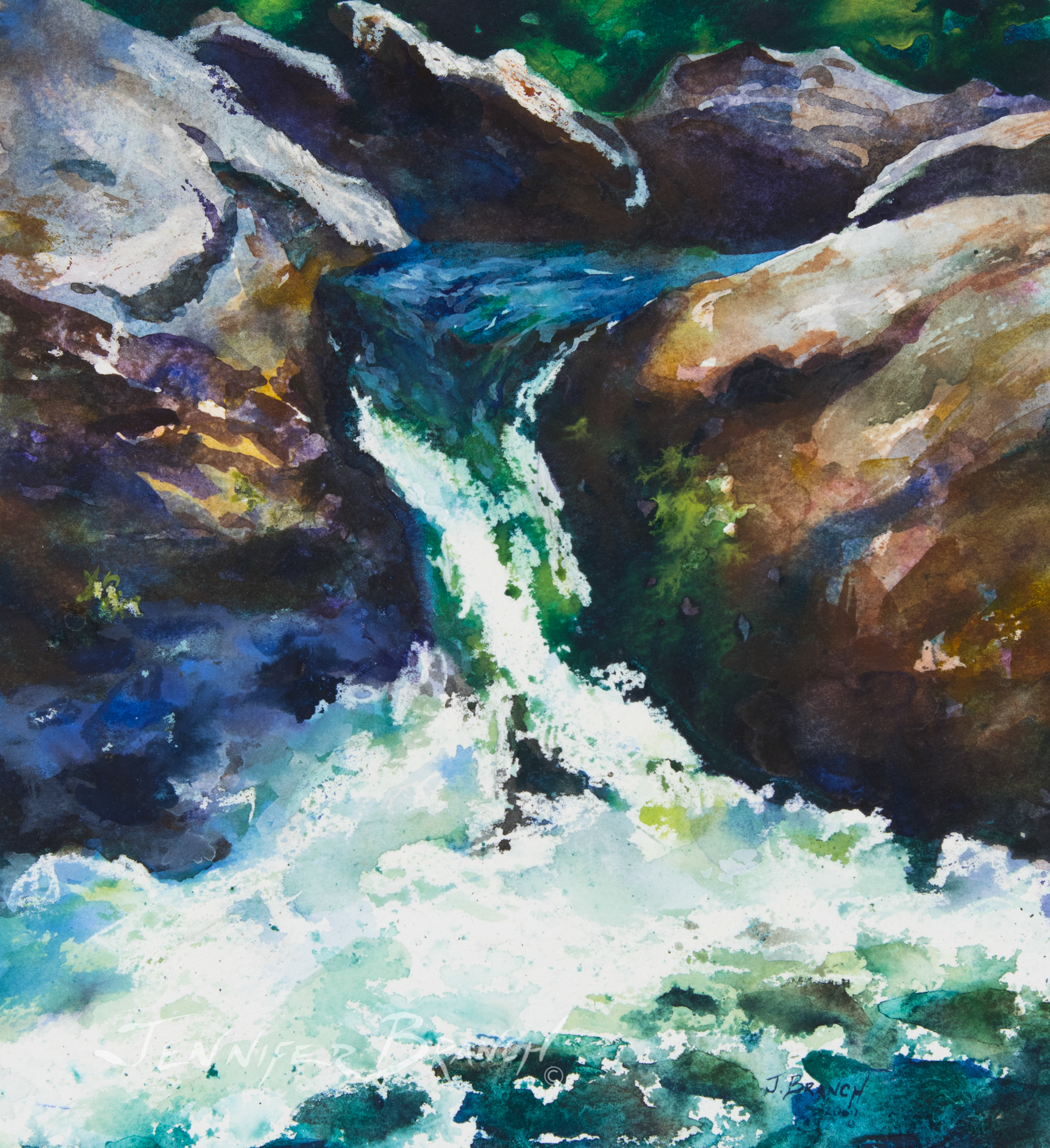 Chattooga Waterfall watercolor painting by Jennifer Branch.