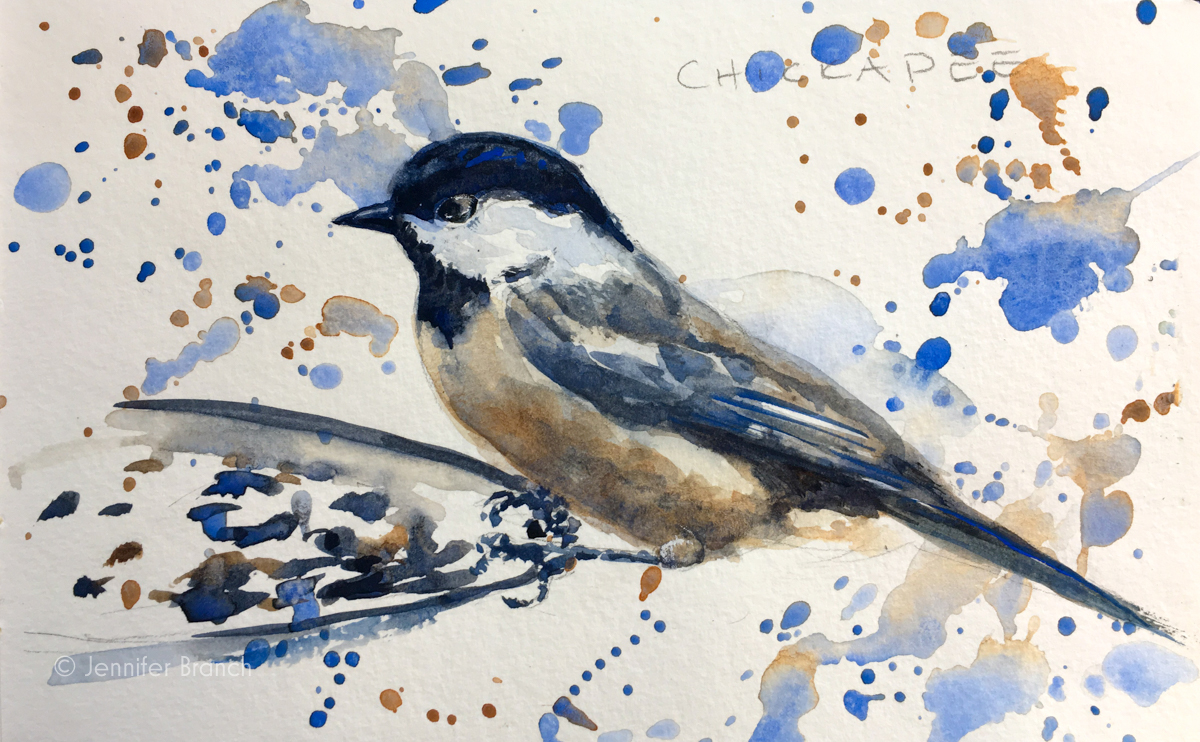 Backyard Bird Sketch, Chickadee by Jennifer Branch