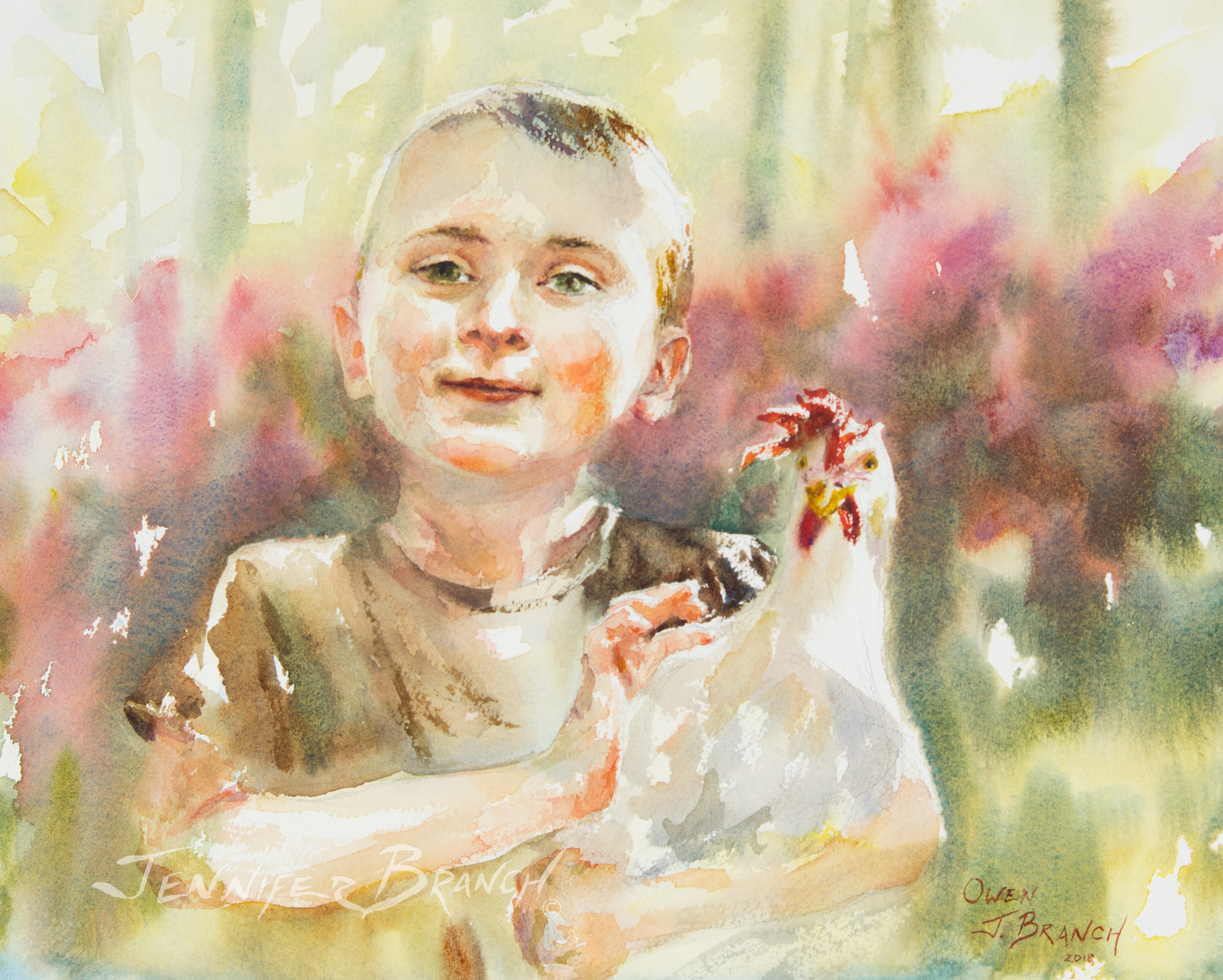 Chicken Wrangler watercolor painting tutorial