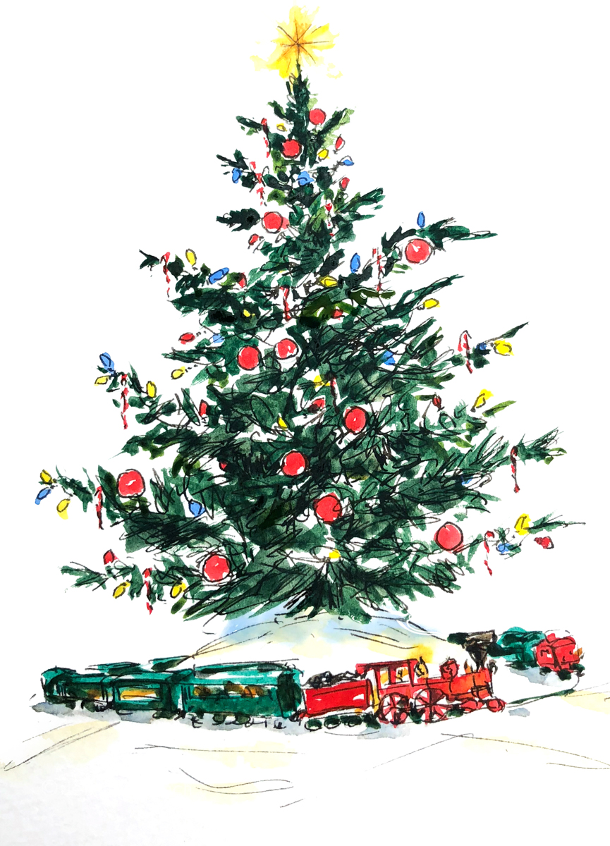 Christmas Tree with train Christmas Card