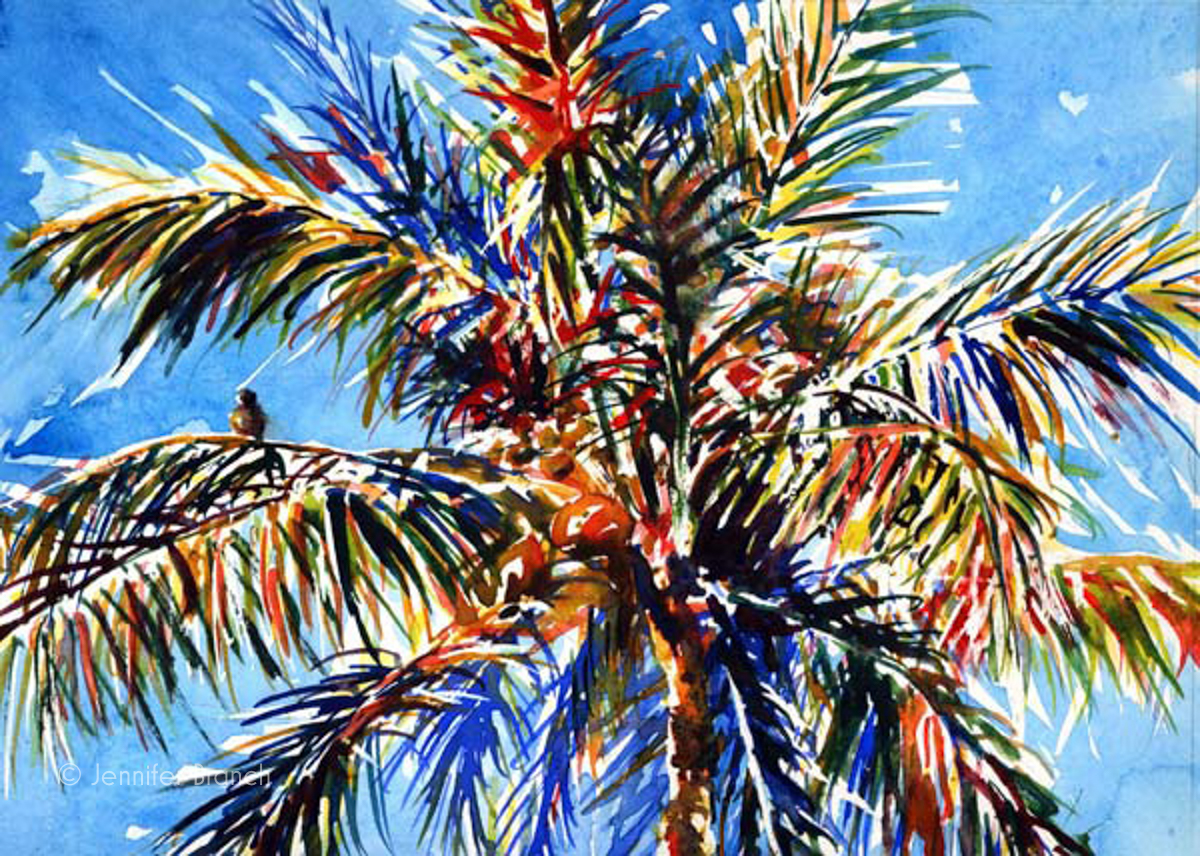 Coconut palm tree watercolor painting