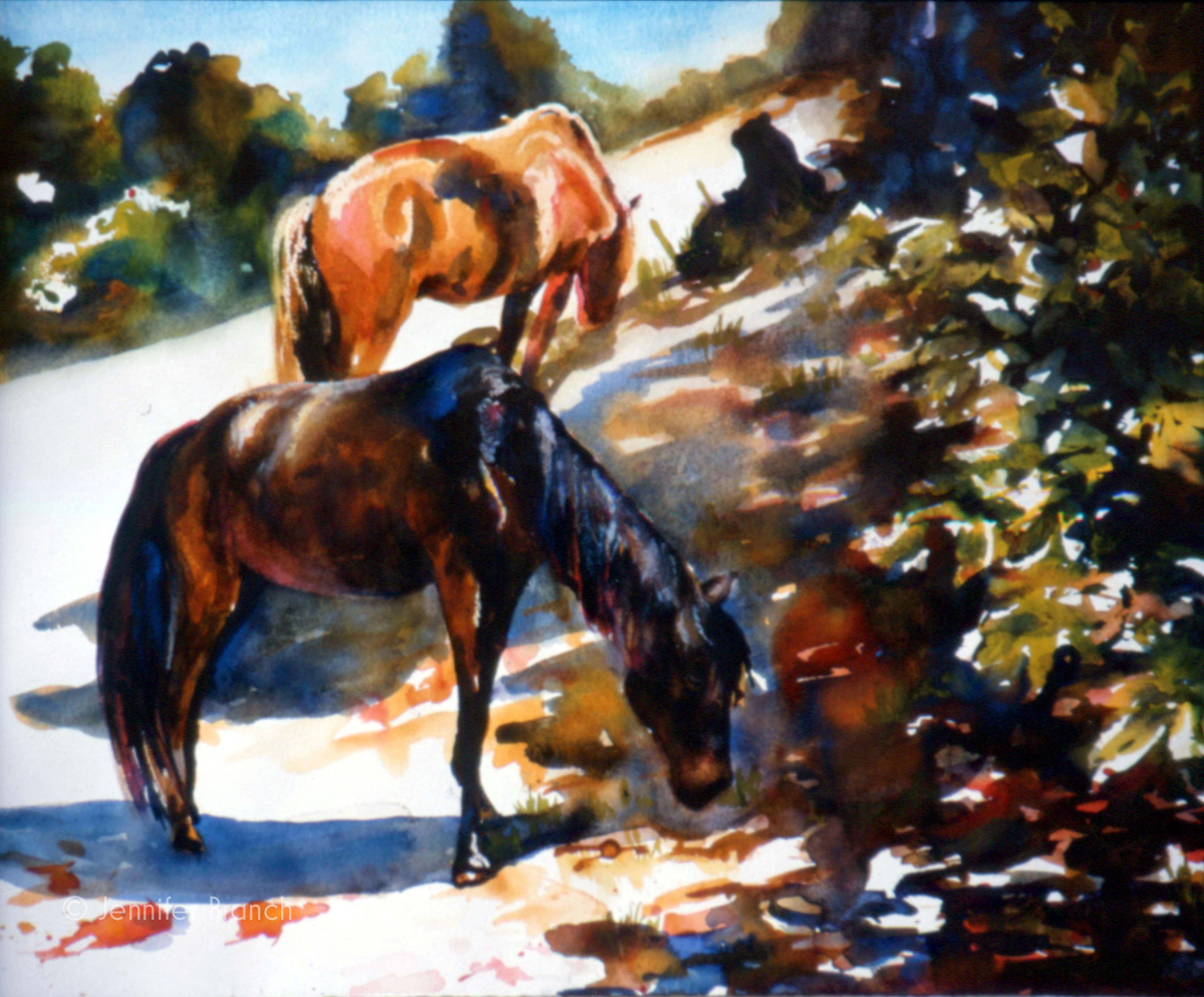 cumberland island horses painting by Jennifer Branch