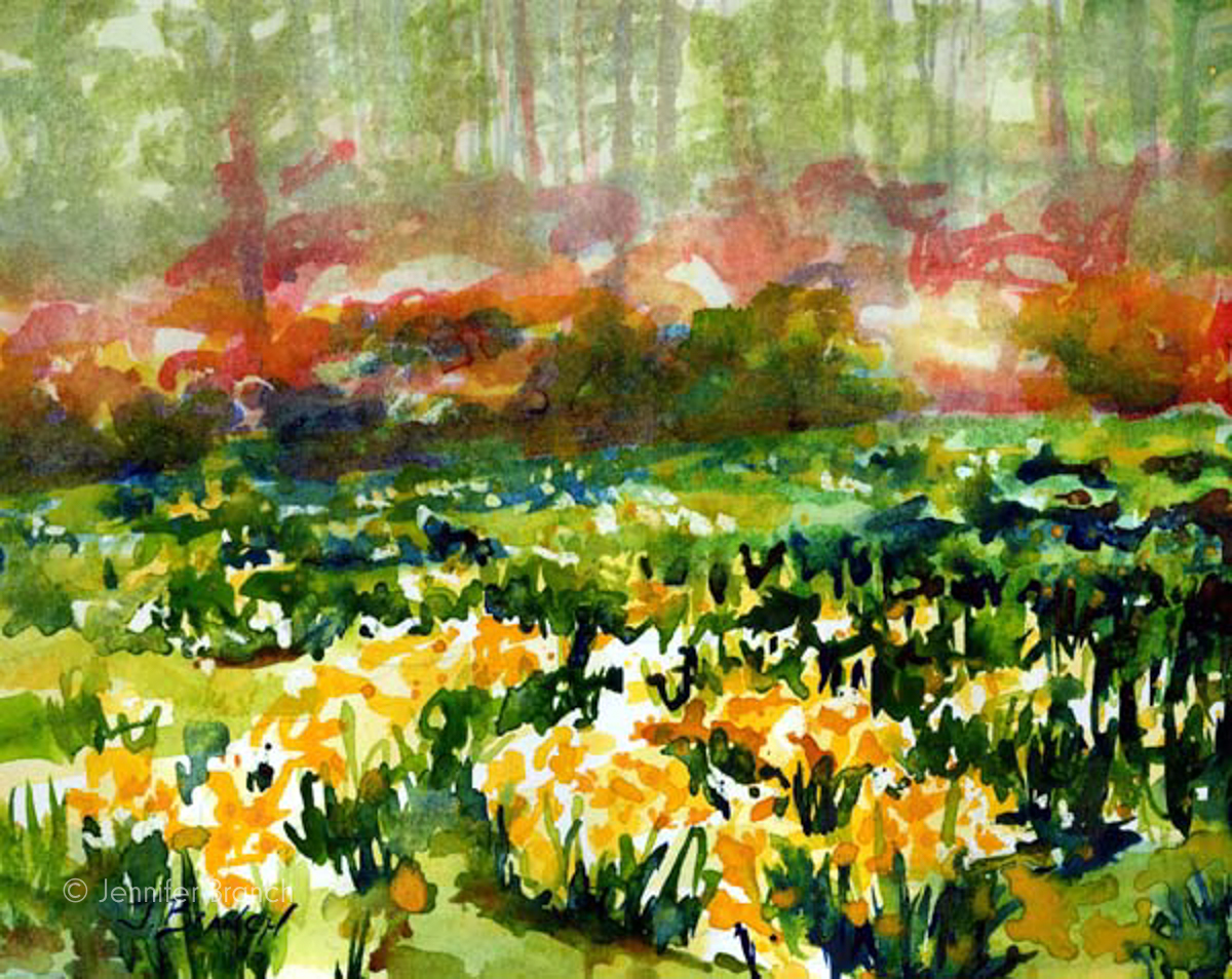 Daffodil field watercolor painting by Jennifer Branch
