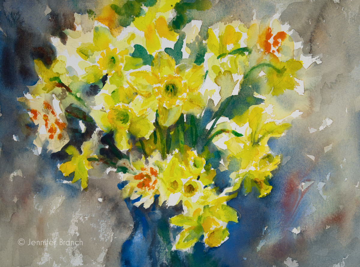 Daffodils painting by Jennifer Branch.