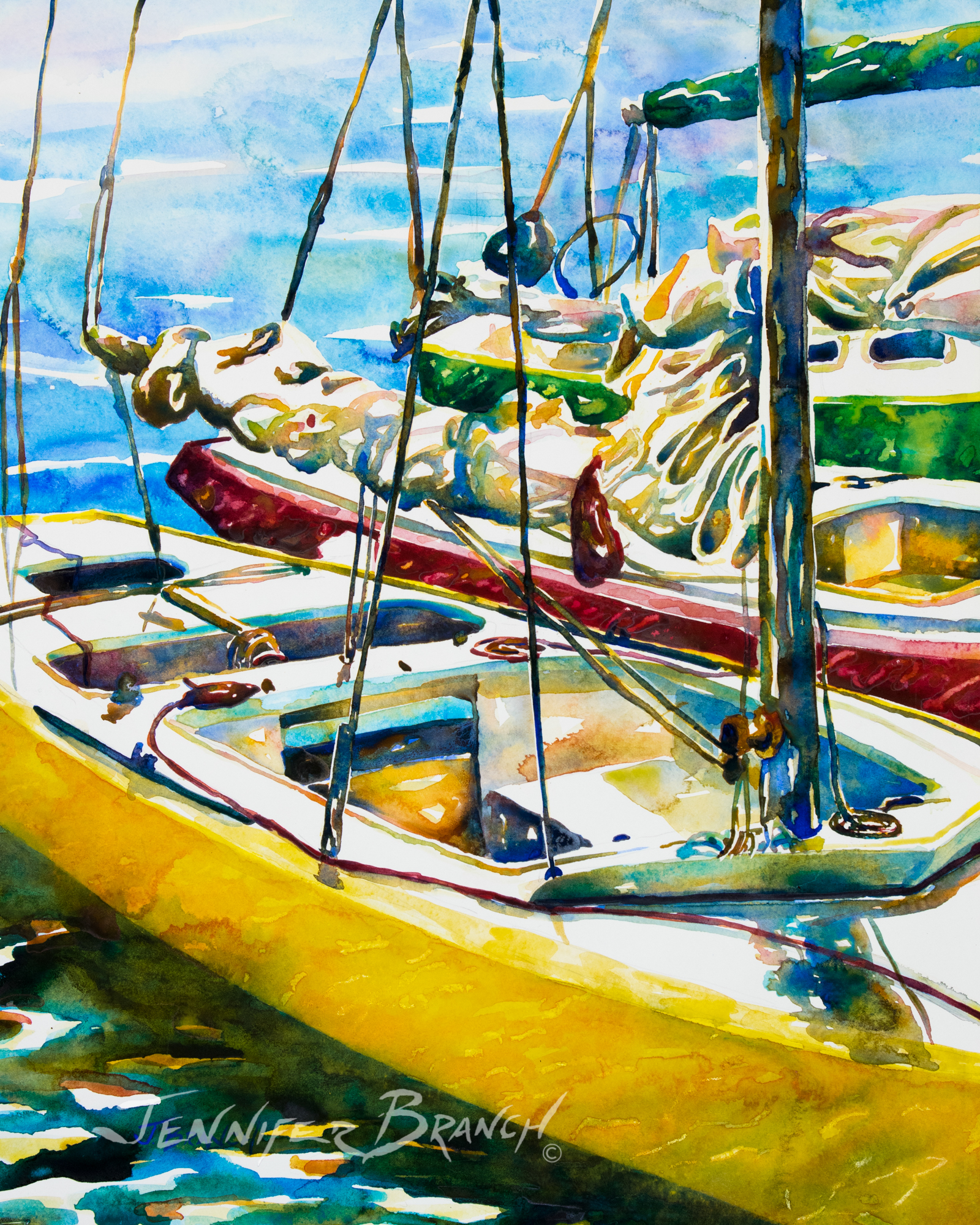Sailboat watercolor painting by Jennifer Branch