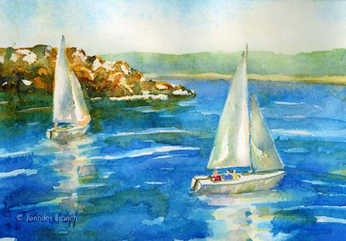 watercolor painting of sailboats by Jennifer Branch