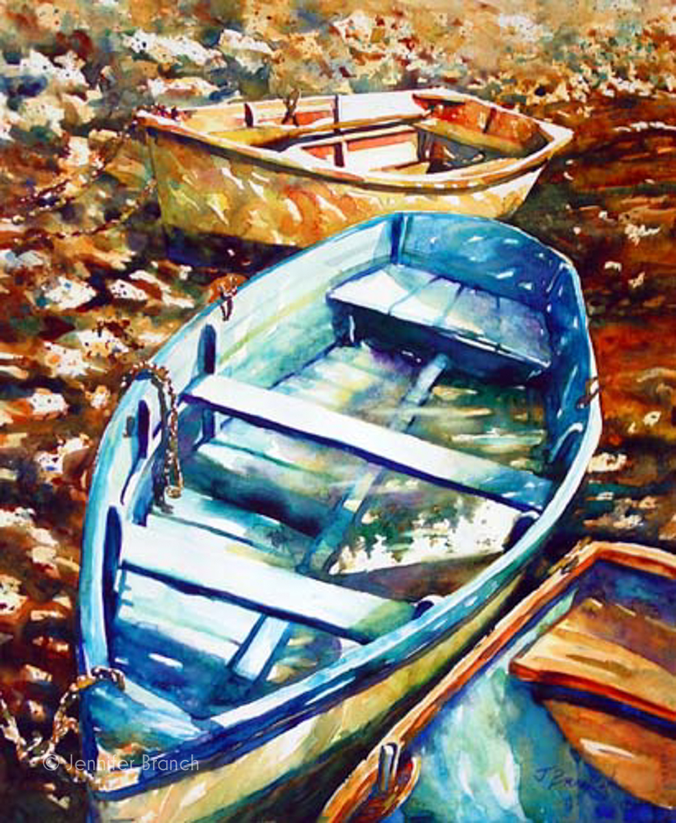 Watercolor painting of dinghies