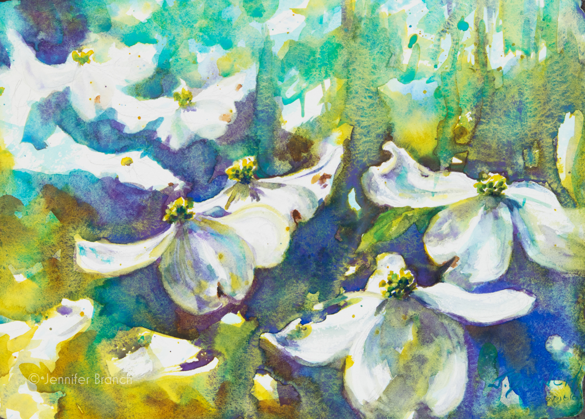Dogwoods watercolor painting tutorial