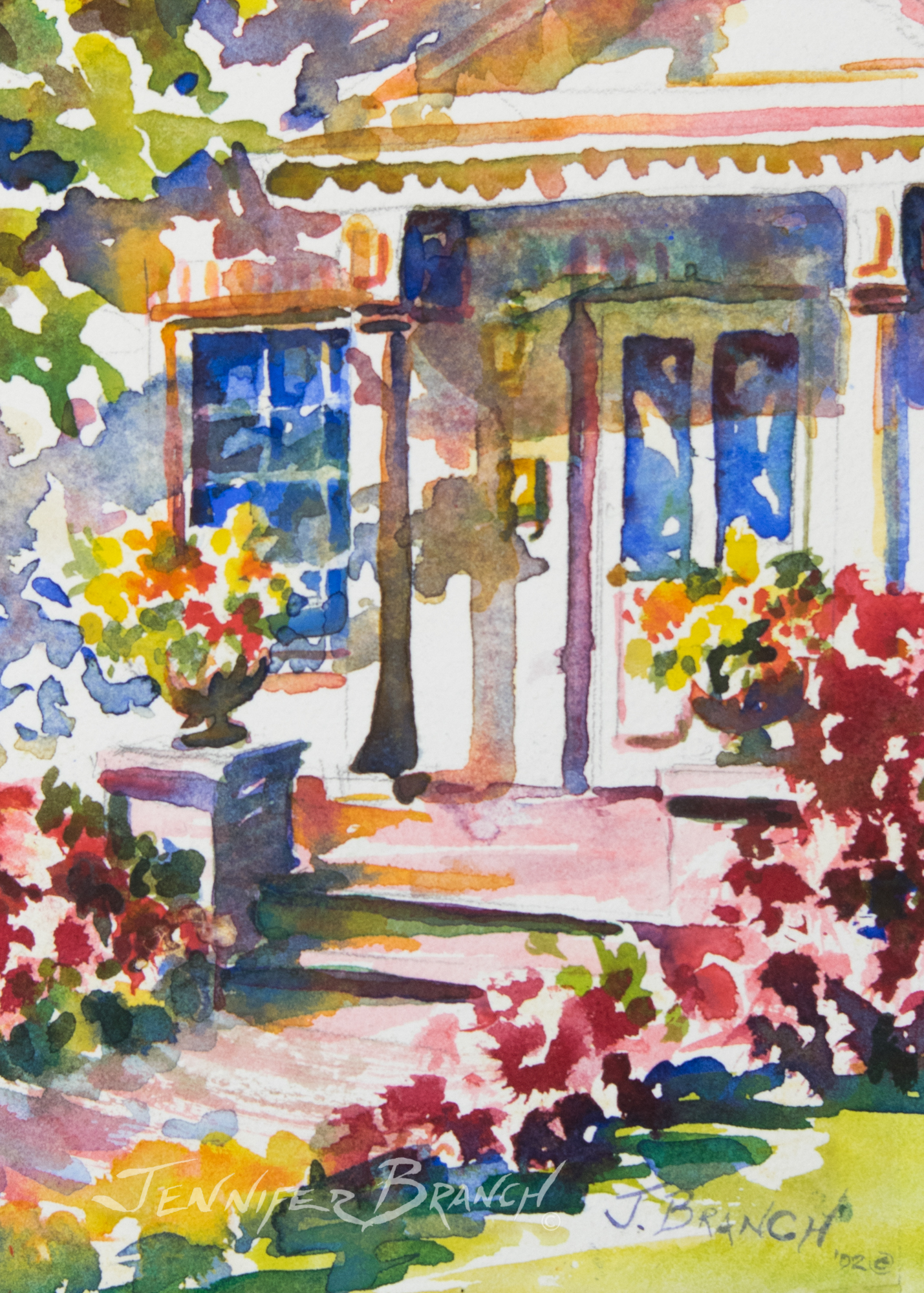 doorway with flowers watercolor painting