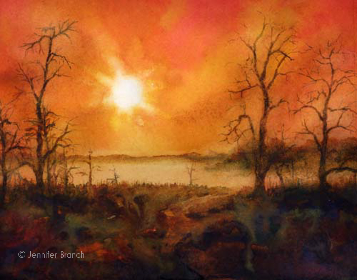 Everglades fog sunrise watercolor painting by Jennifer Branch.