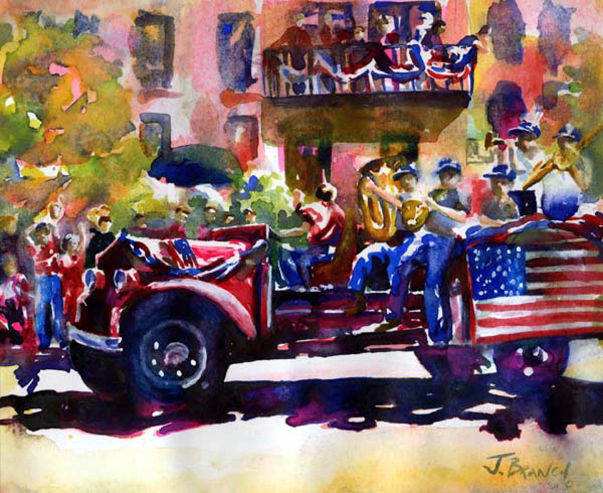 Firetruck painting by Jennifer Branch