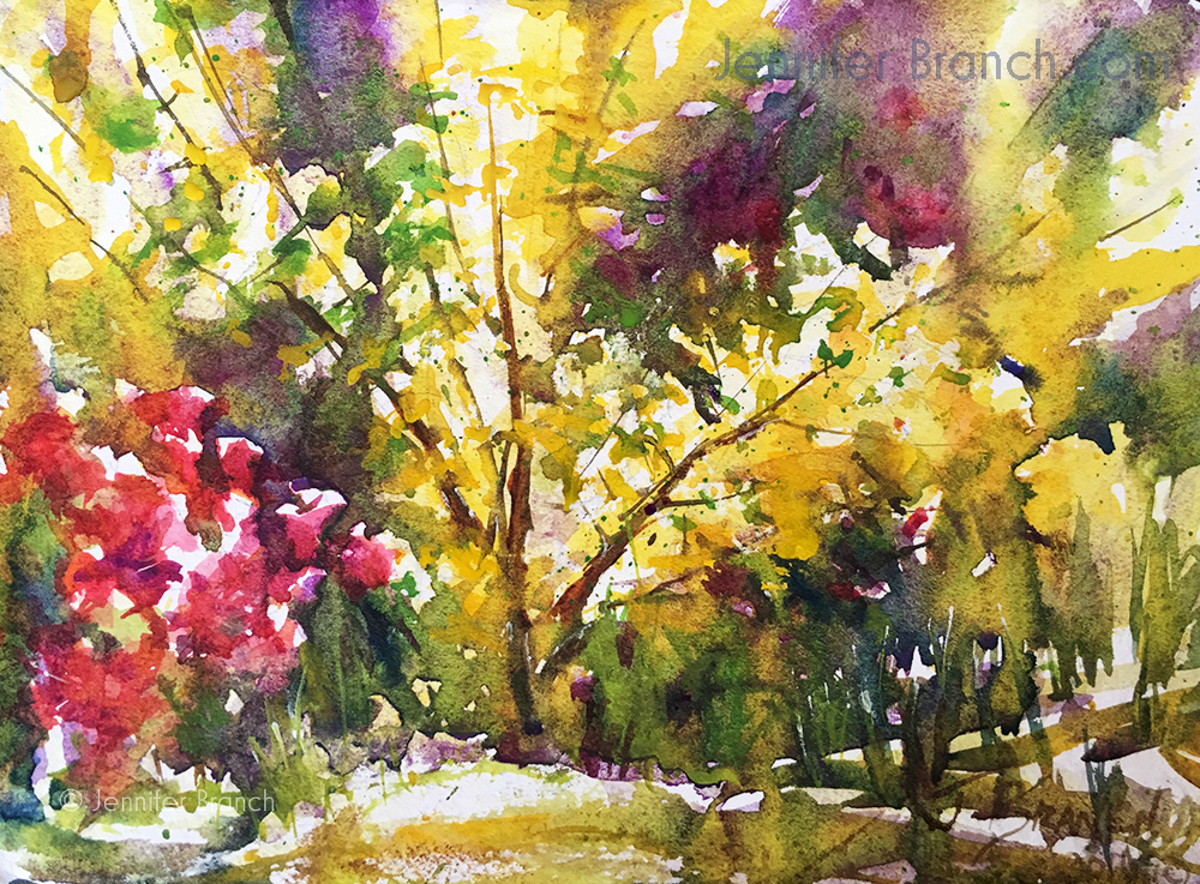 Forsythia Watercolor Painting tutorial