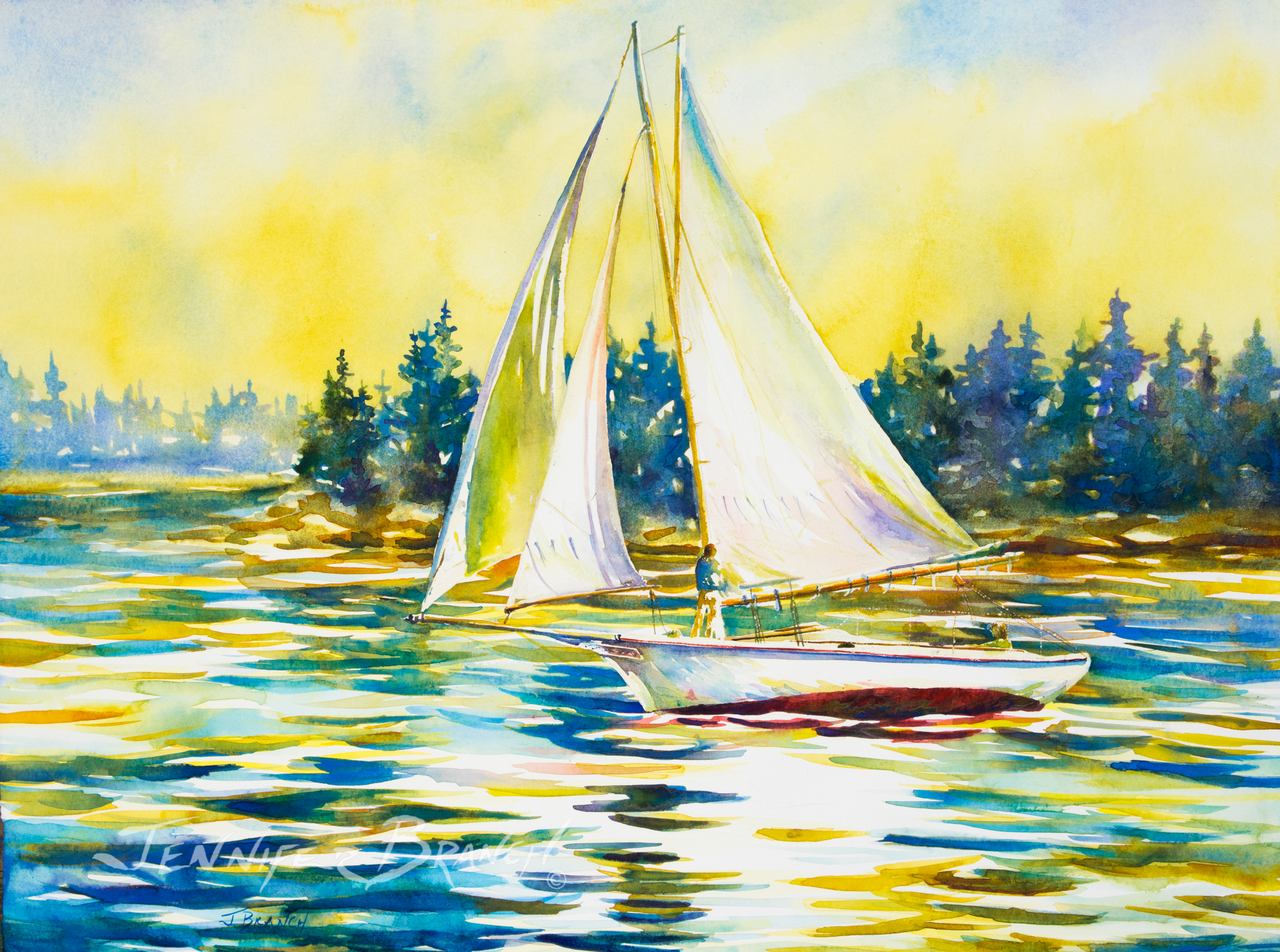 Frienship sloop watercolor painting by Jennifer Branch.