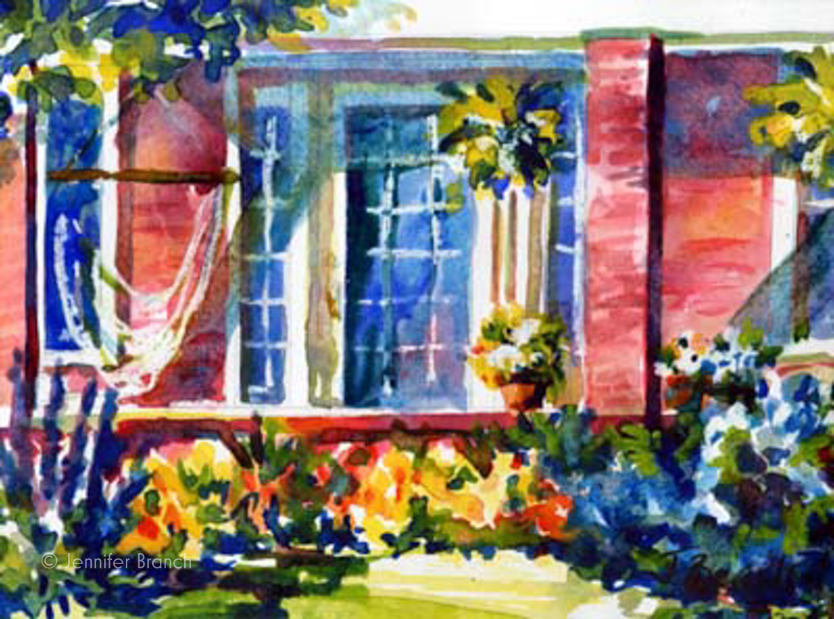 Front Porch watercolor painting by Jennifer Branch.