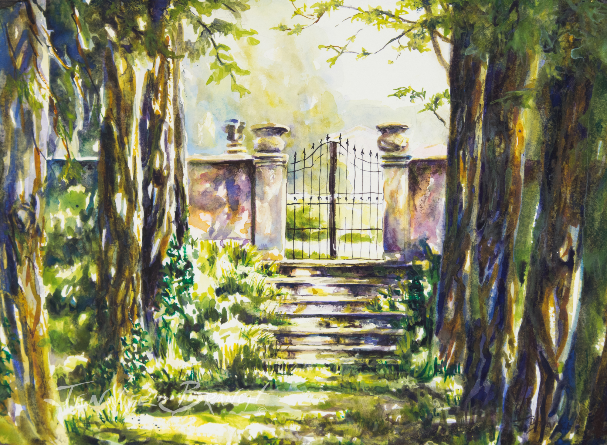 Italian villa watercolor painting