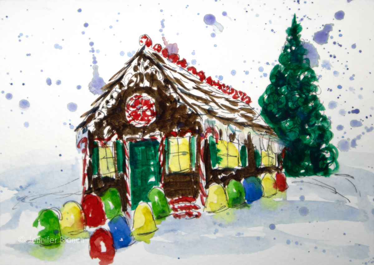 12 Days of Christmas Cards, Gingerbread House by Jennifer Branch