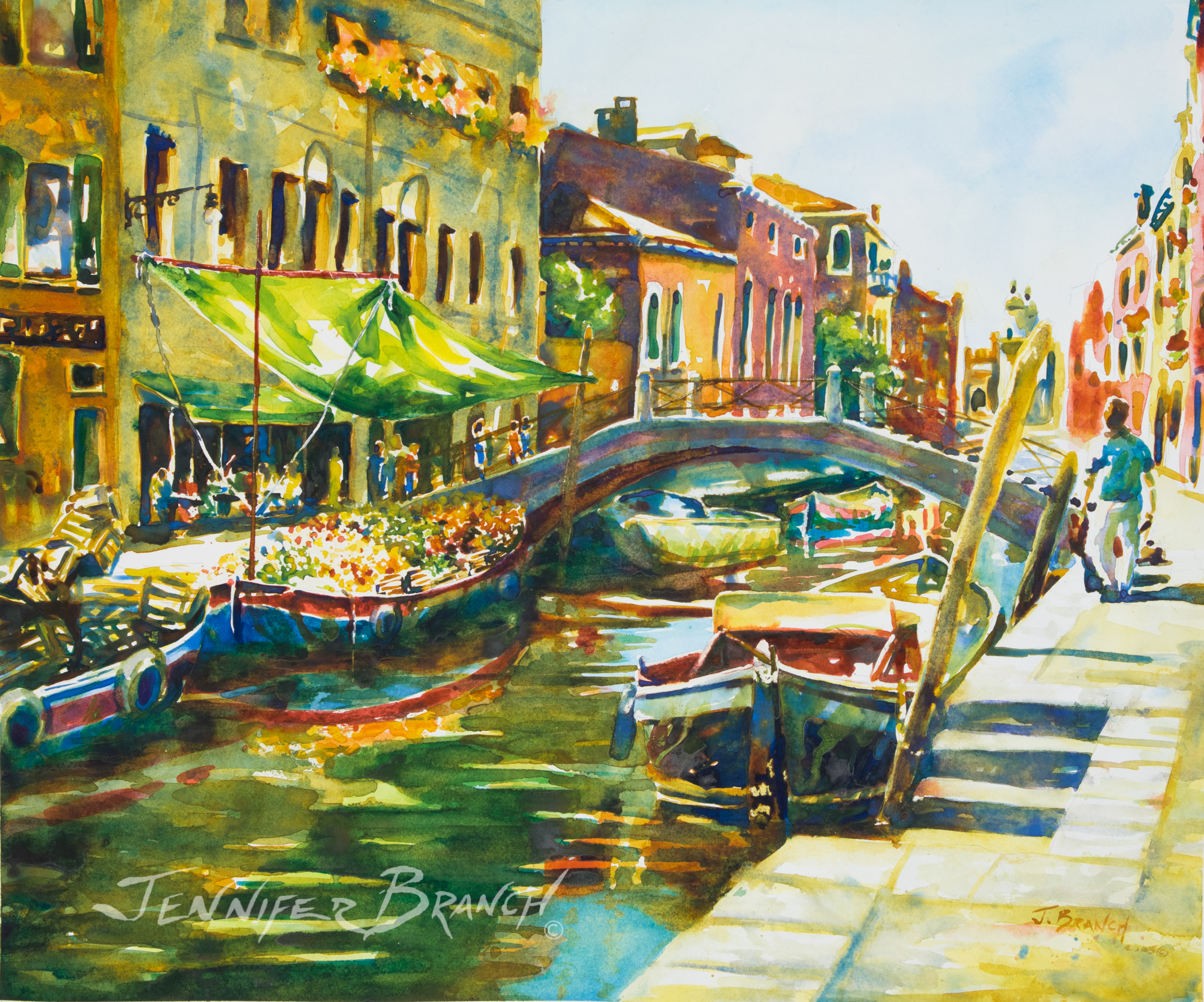 Venice produce boat painting by Jennifer Branch
