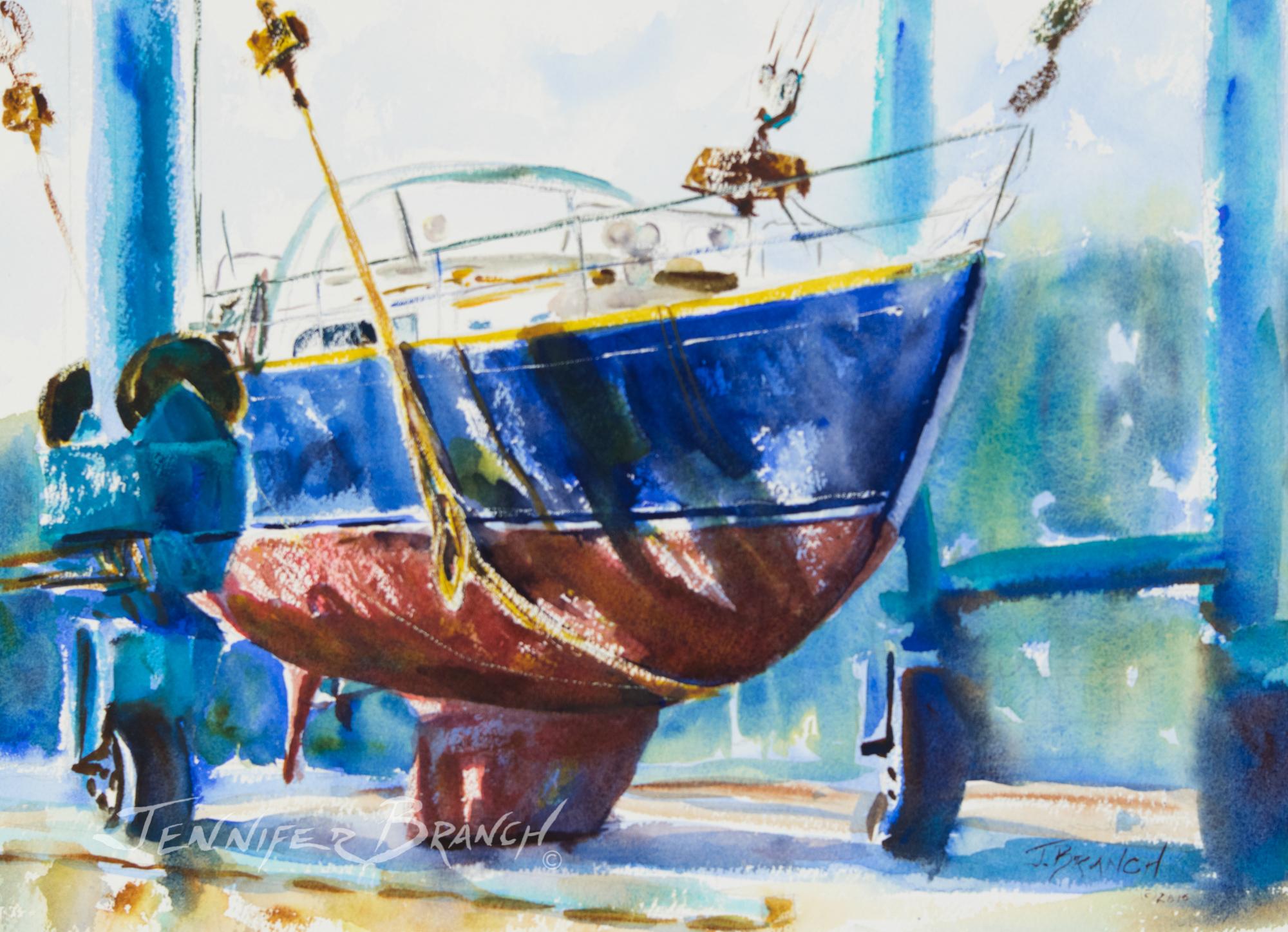 Hinckley Boatyard watercolor painting by Jennifer Branch