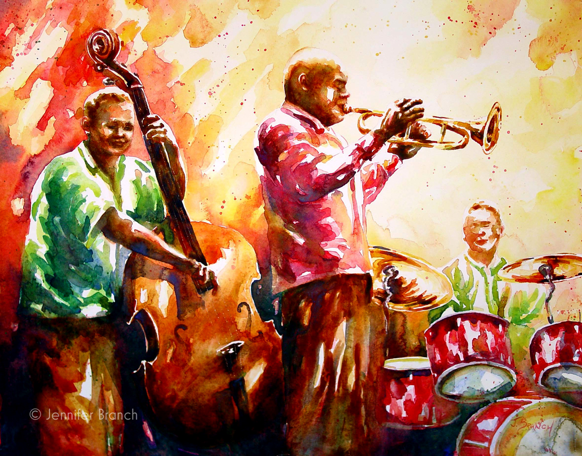 jazz trio watercolor painting
