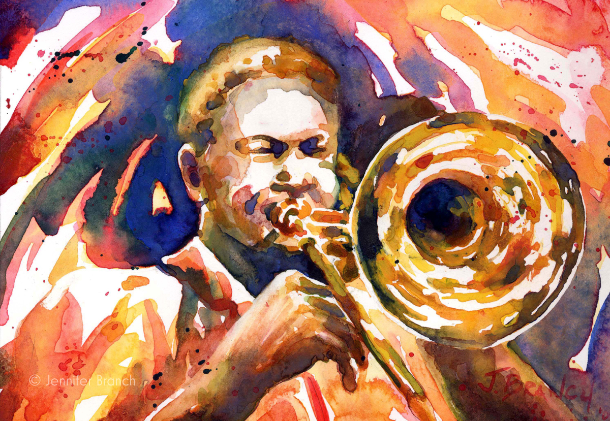 jazz trombone watercolor painting
