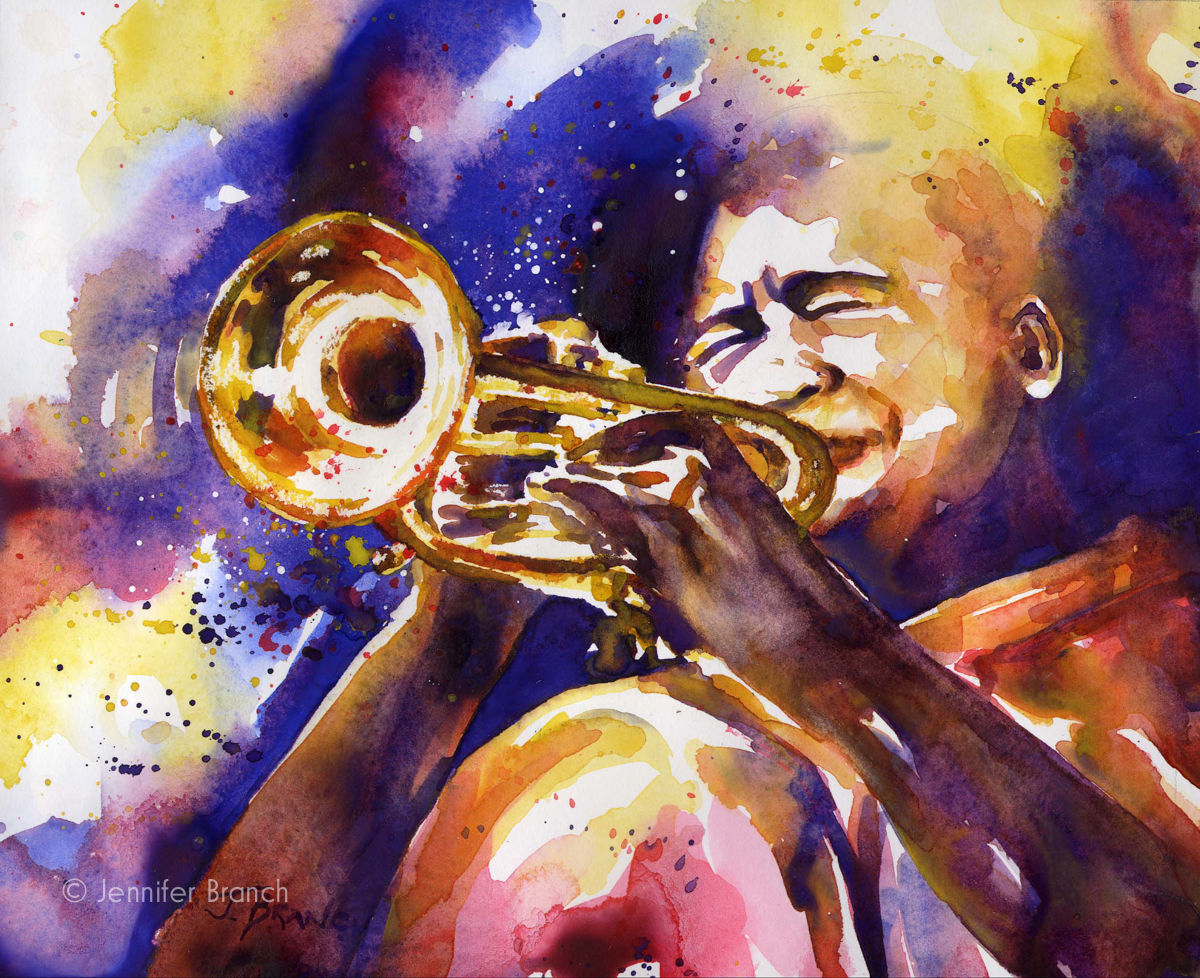 jazz trumpet watercolor painting