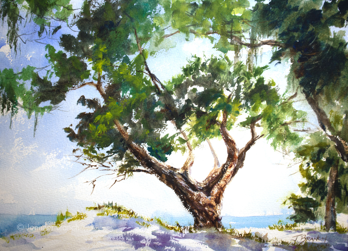 Jekyll Island beach watercolor painting