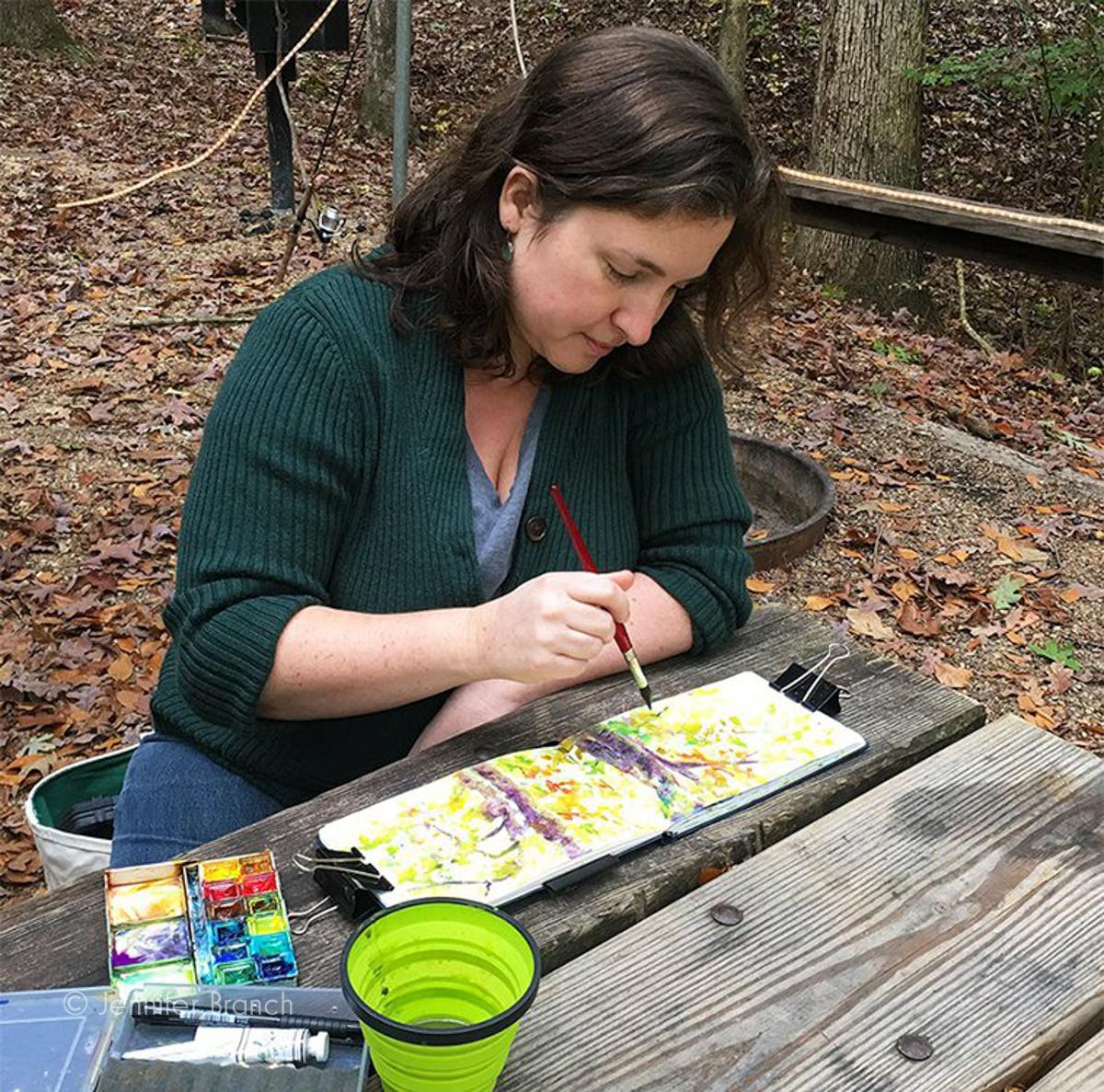 Jennifer Branch sketching in watercolor.