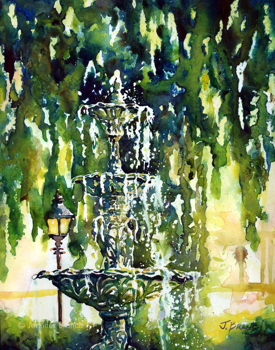 Lafayette Square fountain watercolor painting