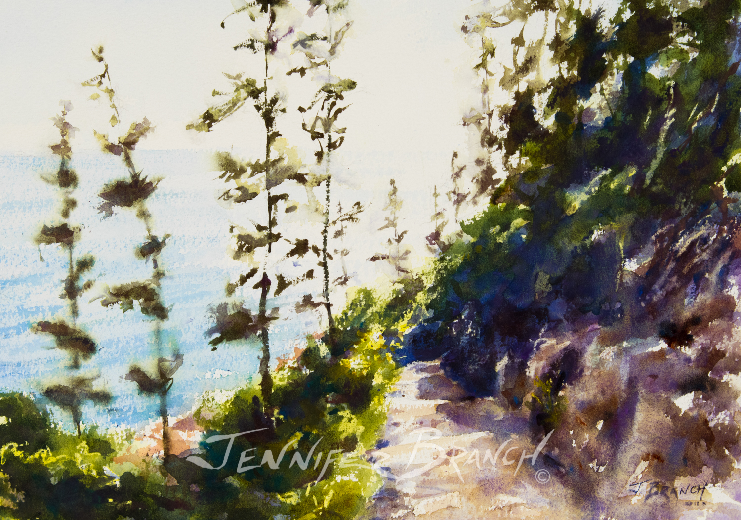 The sun is shining and a beautiful view is at the end of the path. Watercolor painting of the path to Bass Harbor Lighthouse by Jennifer Branch.