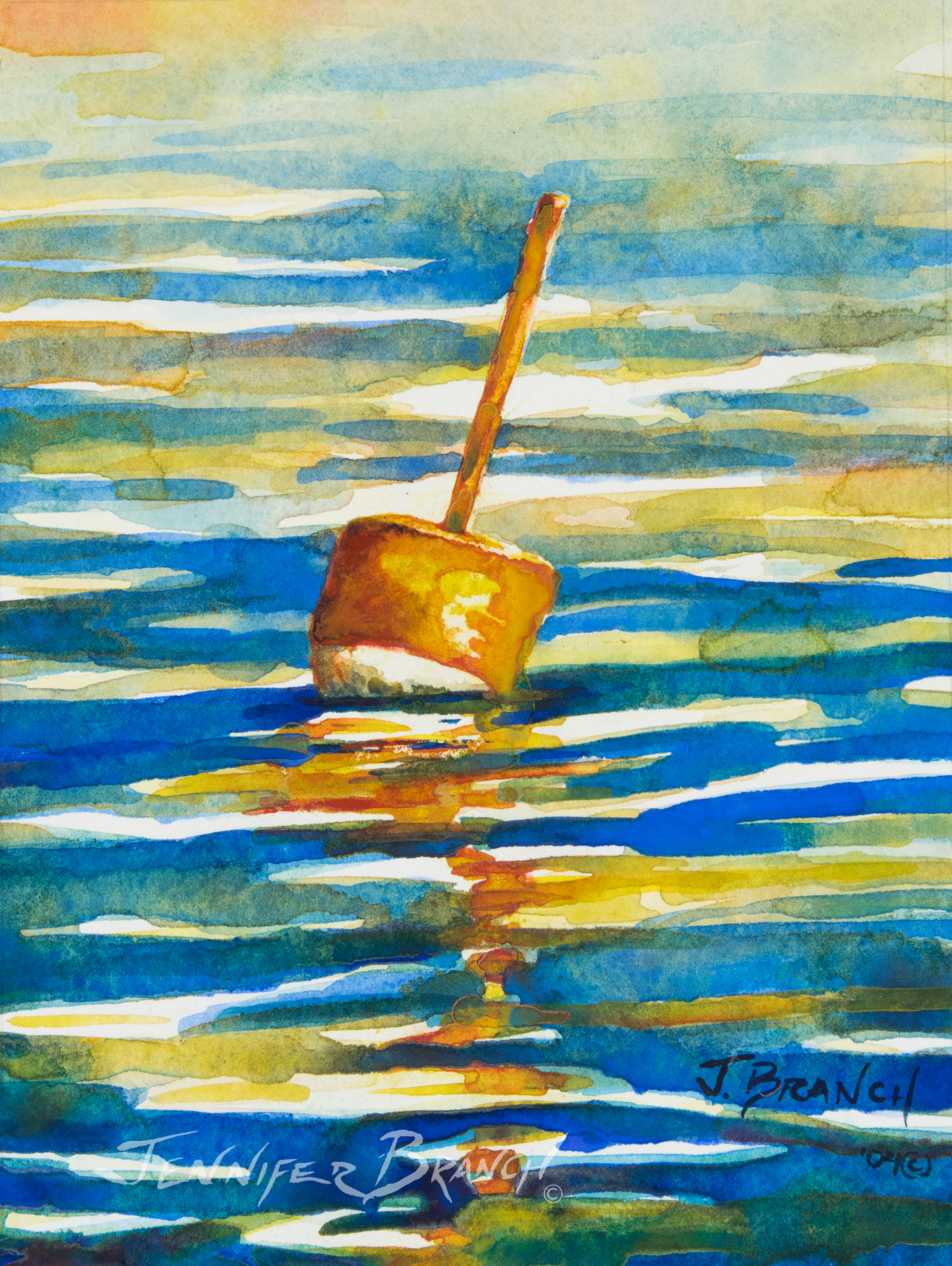 watercolor of buoy
