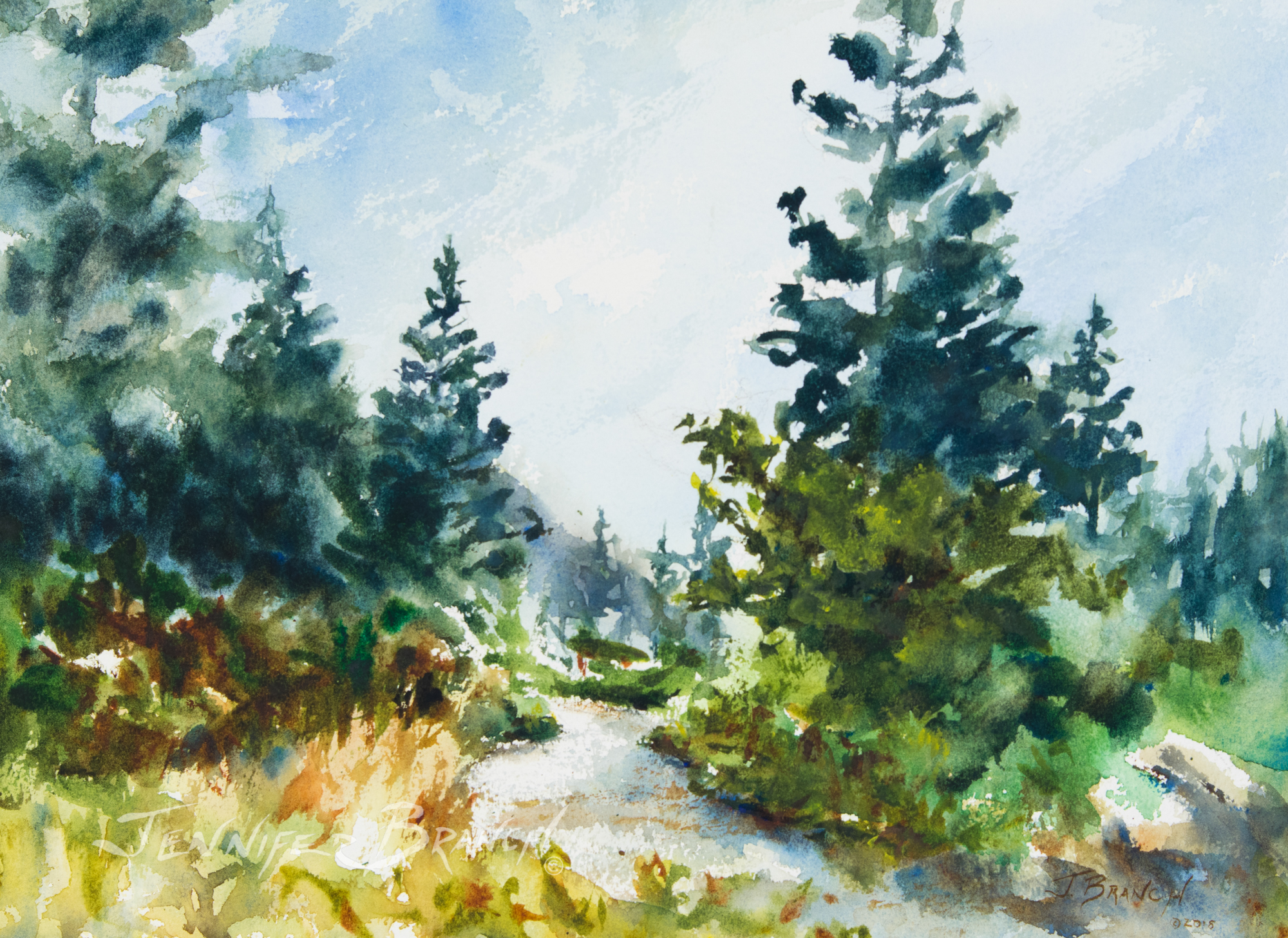 Watercolor painting of a path in Acadia National Park, Maine.