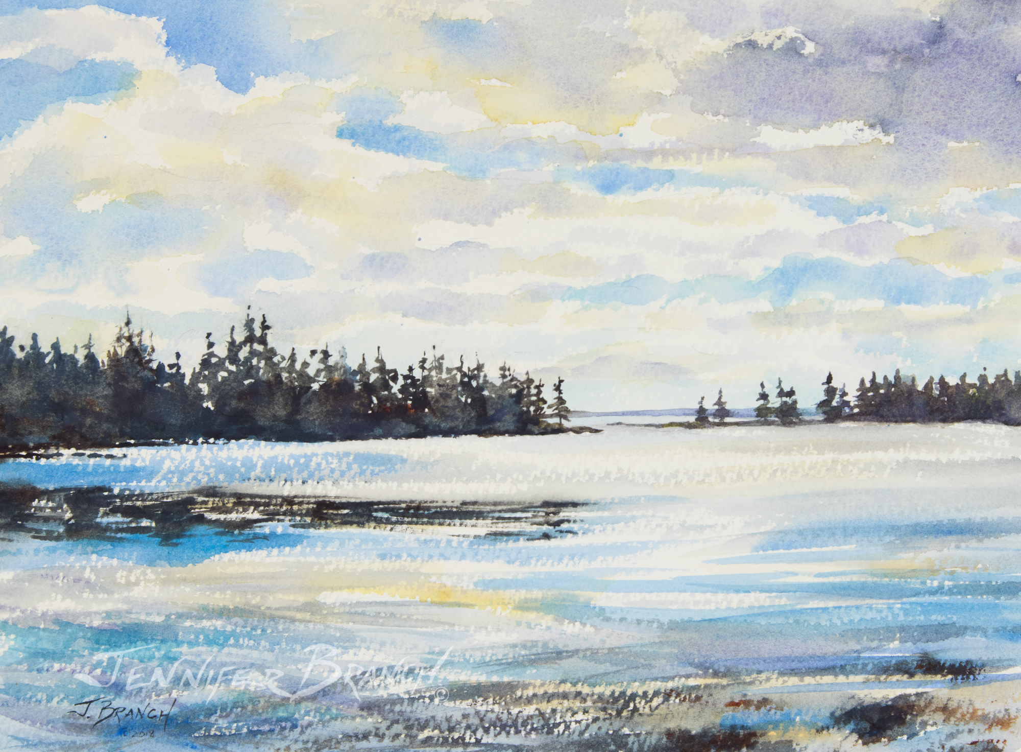 Original watercolor painting of a peaceful Maine cove.