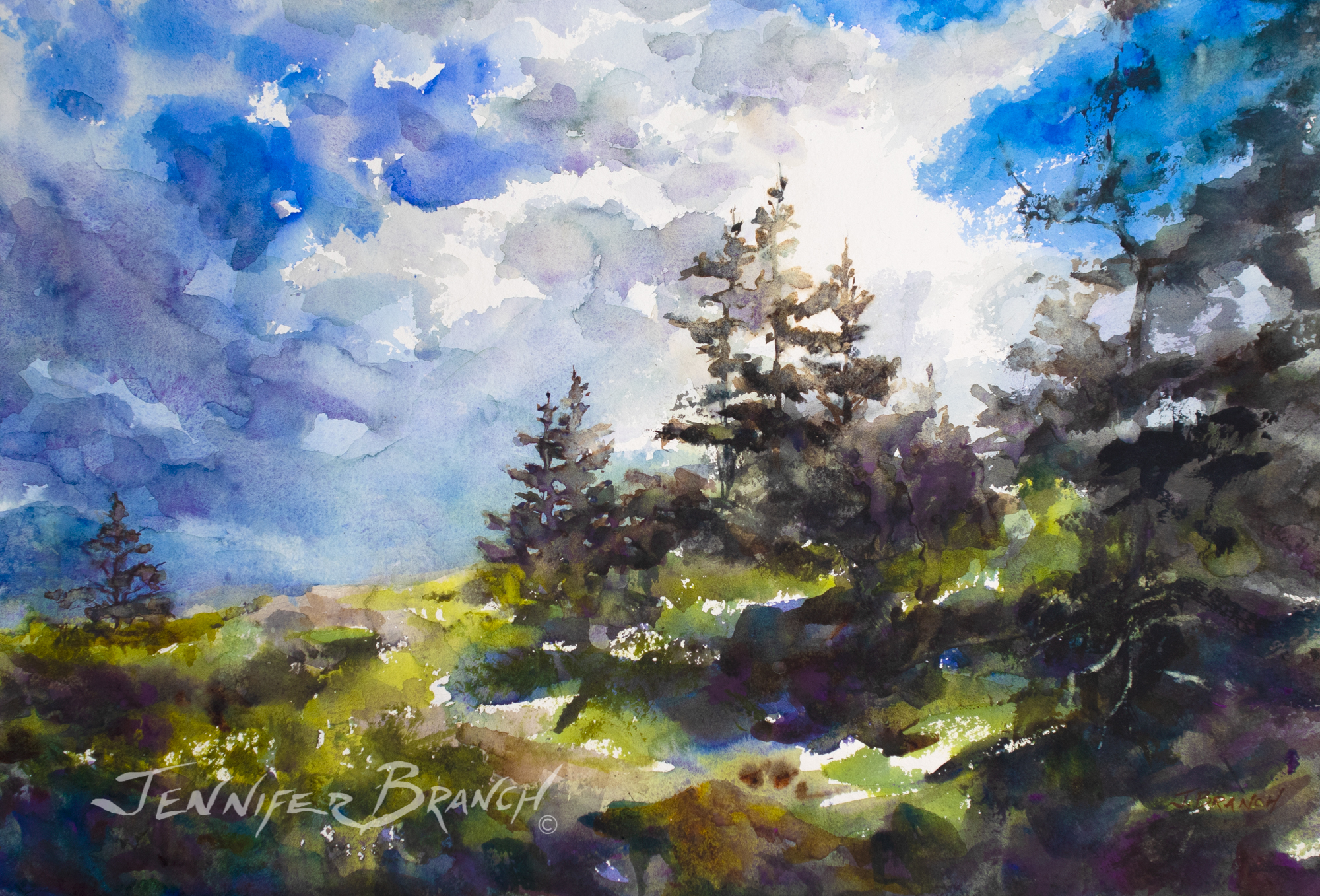 Watercolor painting of a Maine summer sky by Jennifer Branch. by Jennifer Branch.