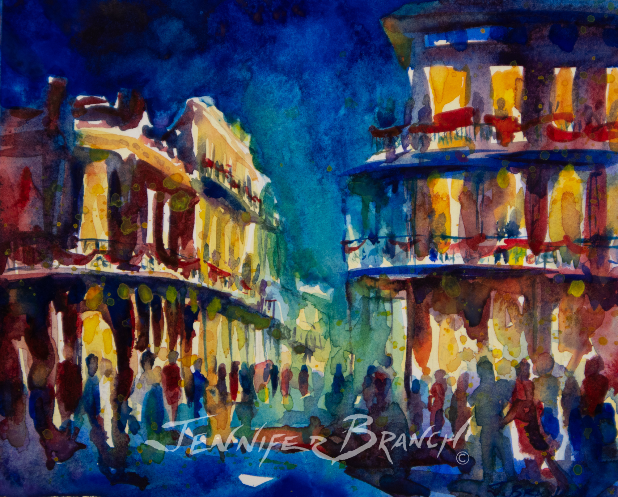 New Orleans Mardi Gras painting by Jennifer Branch.