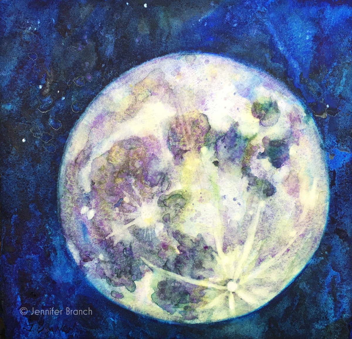 How to Paint a Full Moon watercolor painting tutorial