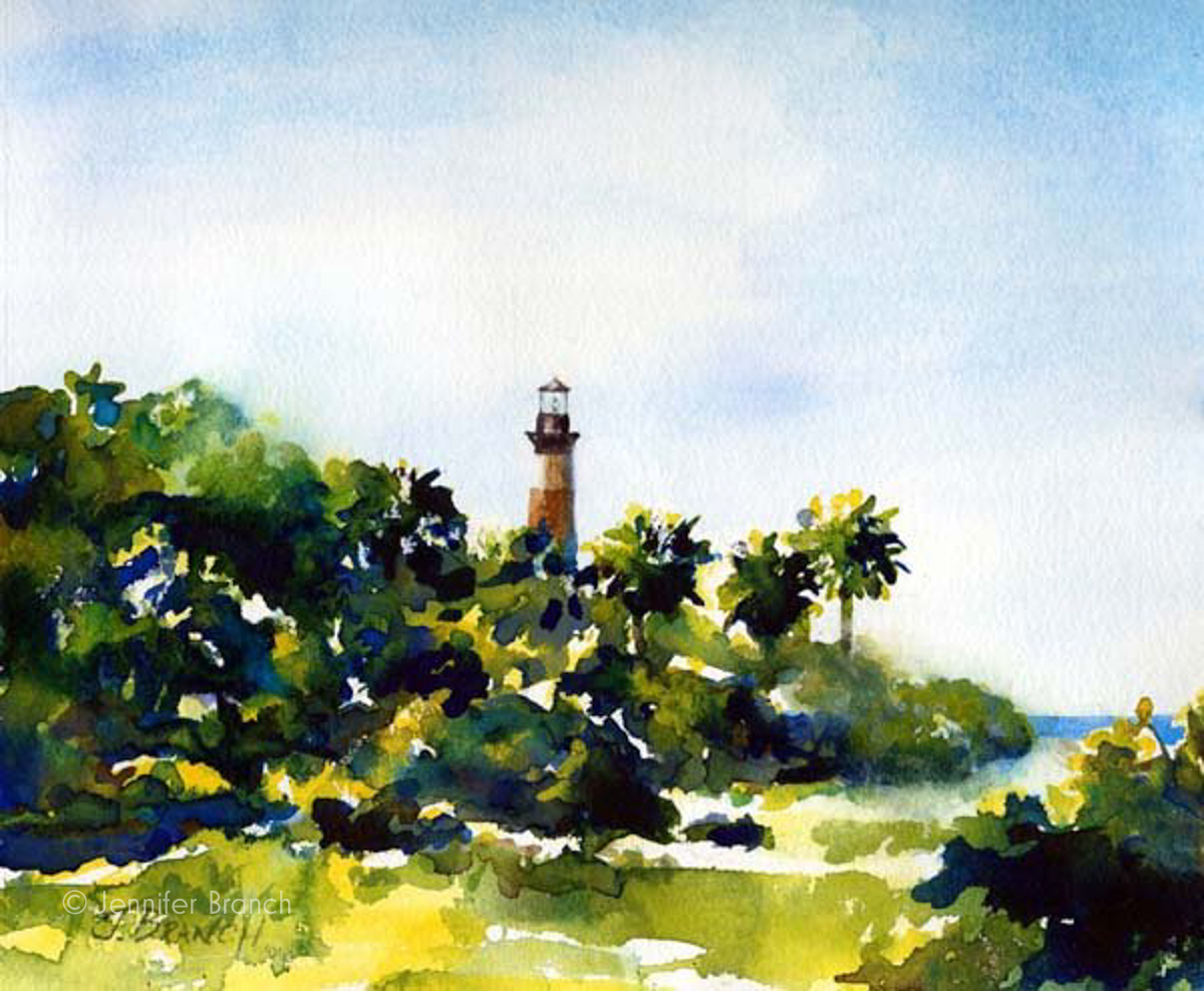 Morris Island Lighthouse watercolor painting by Jennifer Branch