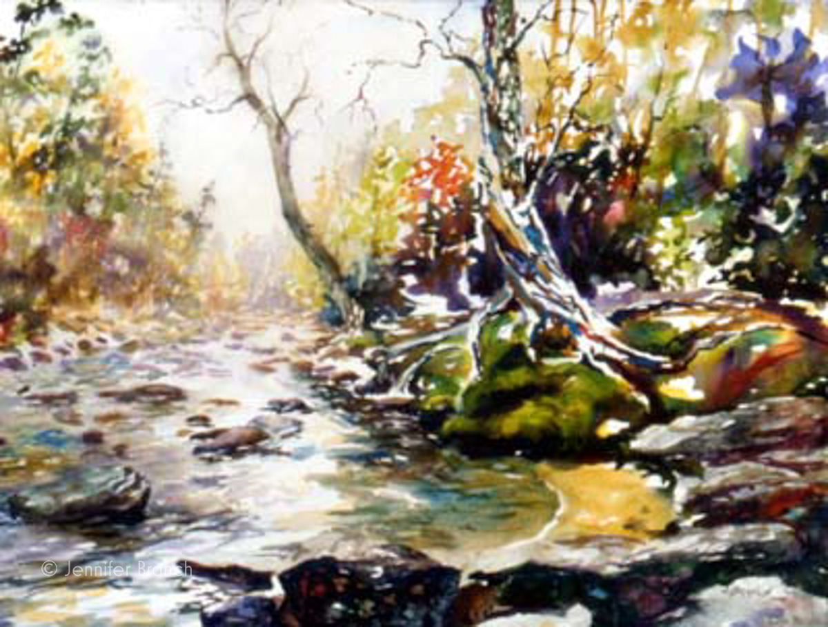 Sope creek tree mountain stream for Watercolor drawing tutorial