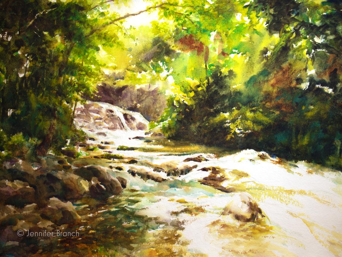 Watercolor painting of Nantahala River waterfall.
